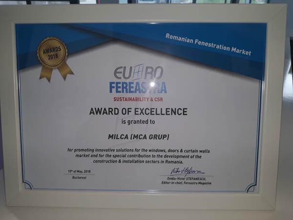 Diploma de excelenta acordata lui MCA Grup din partea Euro-Fereastra