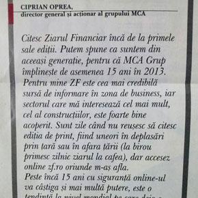 MCA: La multi ani Ziarului Financiar la aniversarea a 15 ani