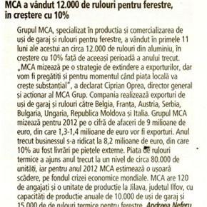 MCA a vandut 12000 de rulouri, in crestere cu 10%