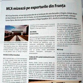 MCA mizeaza pe exporturile din Franta