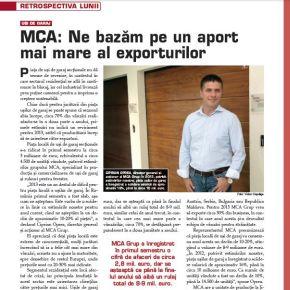 MCA, in revista Business Construct: Ne bazam pe un aport mai mare al exporturilor