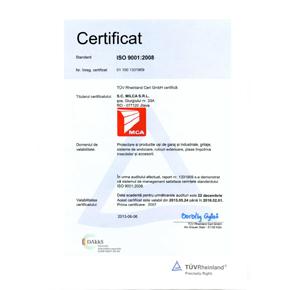Produsele MCA sunt certificate de organisme internationale. Siguranta si calitate atestate TUV Rhein